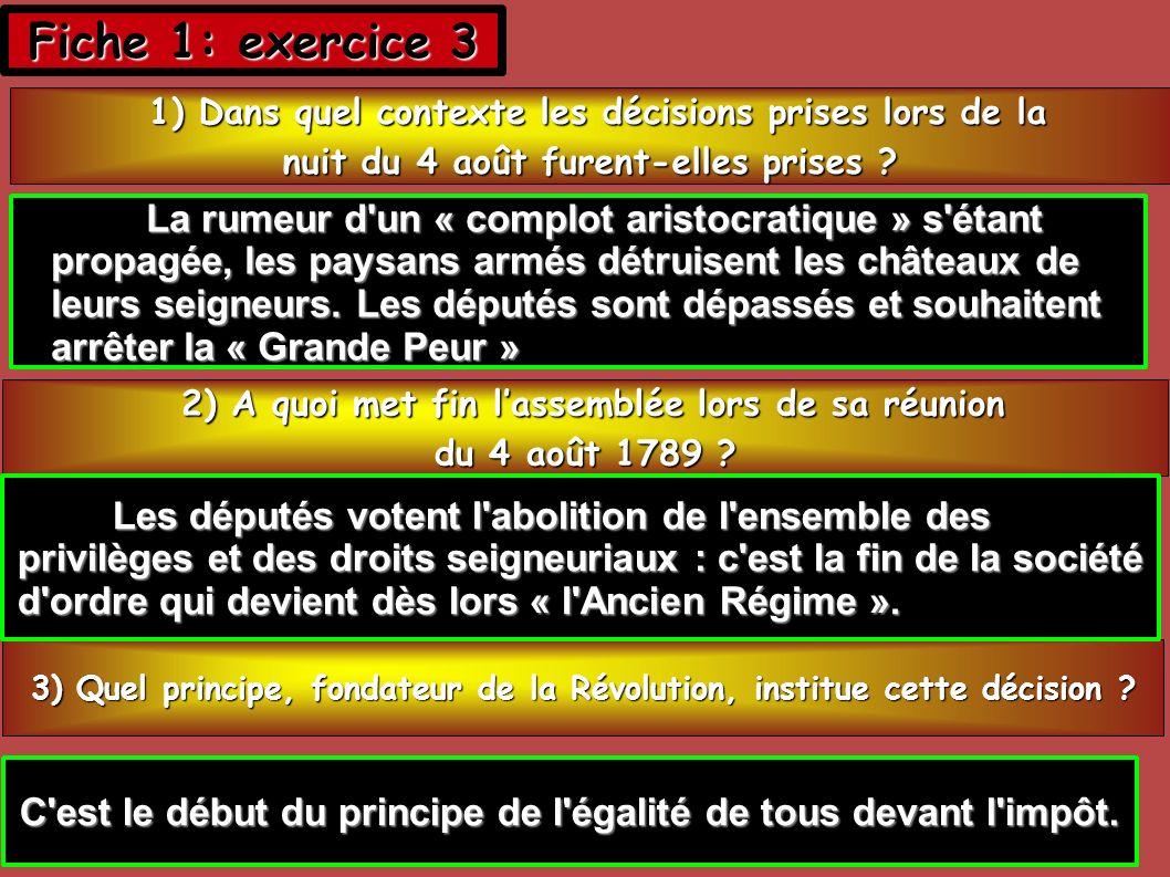 Fiche 1: exercice 3 La rumeur d un « complot aristocratique » s étant
