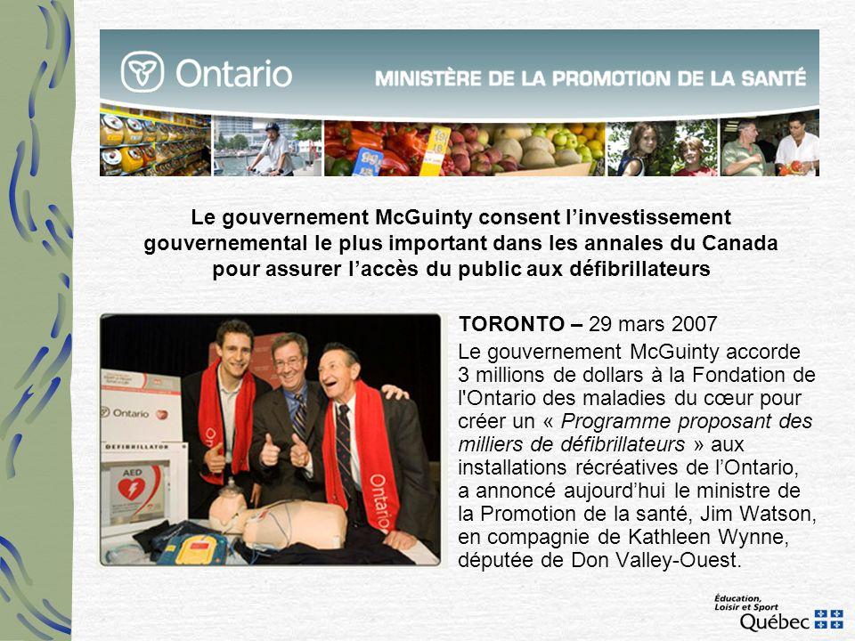 Le gouvernement McGuinty consent l'investissement gouvernemental le plus important dans les annales du Canada pour assurer l'accès du public aux défibrillateurs