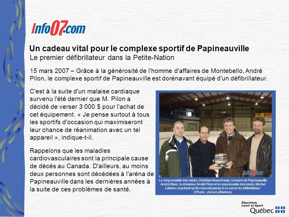 Un cadeau vital pour le complexe sportif de Papineauville