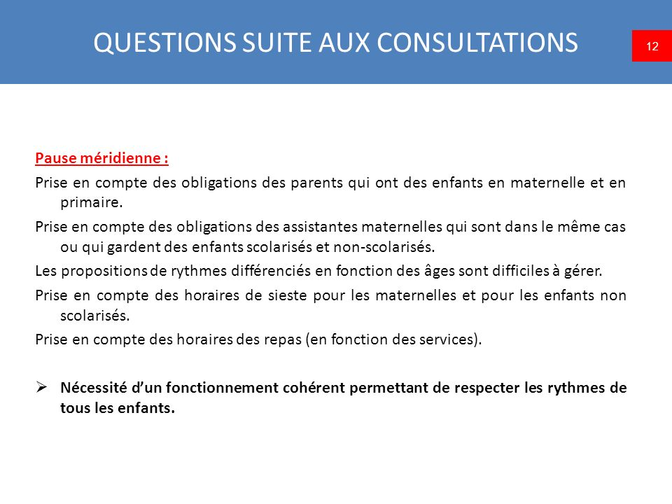 QUESTIONS SUITE AUX CONSULTATIONS