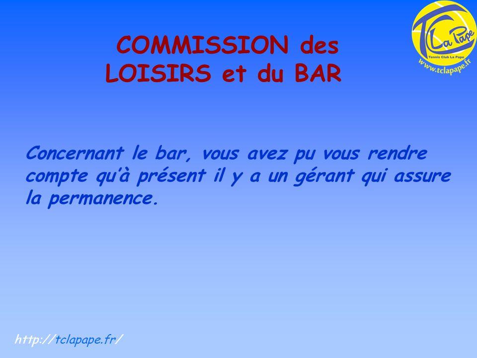COMMISSION des LOISIRS et du BAR