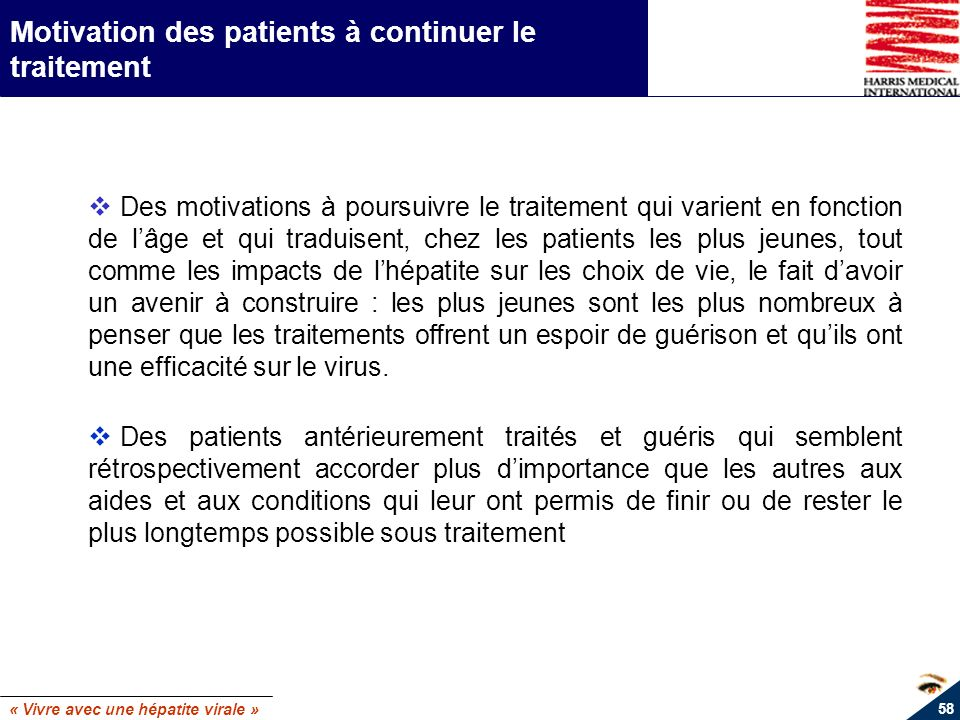 Motivation des patients à continuer le traitement