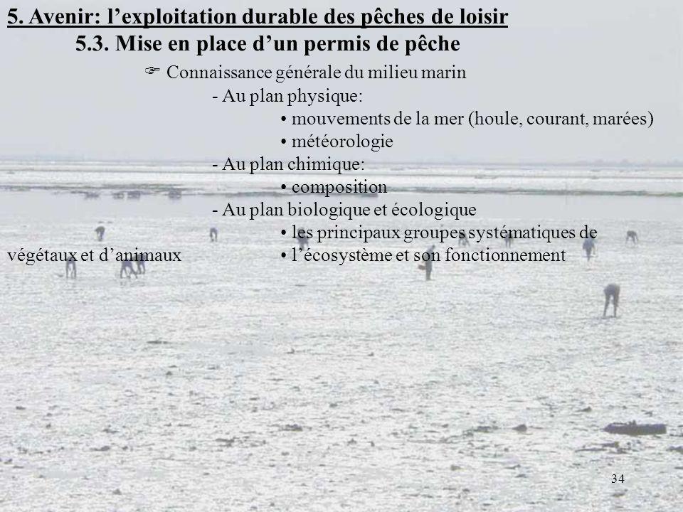 5. Avenir: l'exploitation durable des pêches de loisir