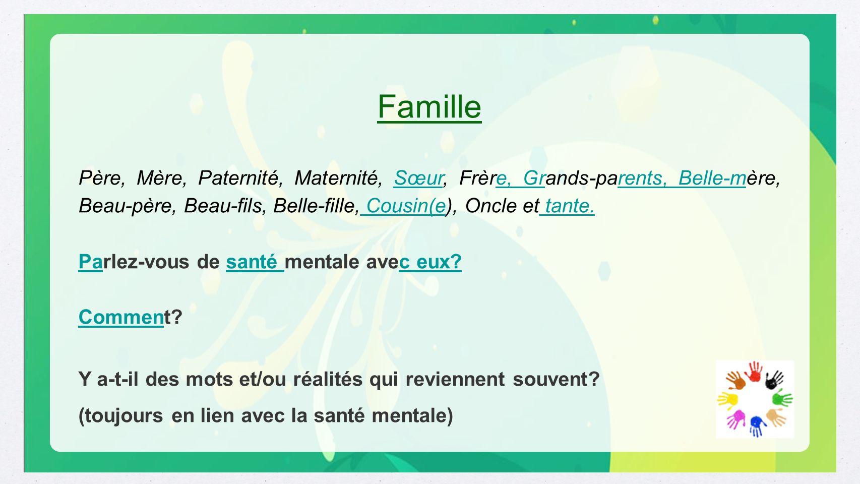 Famille Père, Mère, Paternité, Maternité, Sœur, Frère, Grands-parents, Belle-mère, Beau-père, Beau-fils, Belle-fille, Cousin(e), Oncle et tante.