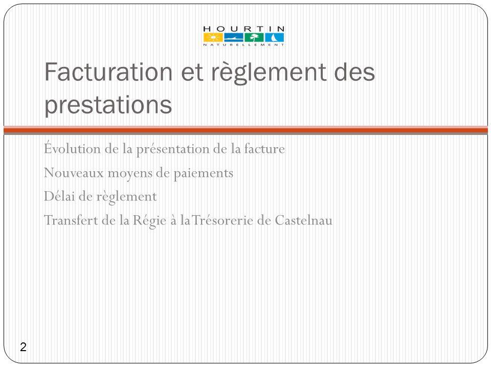 Facturation et règlement des prestations