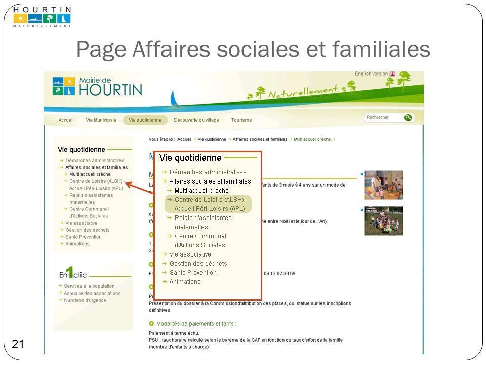 Page Affaires sociales et familiales