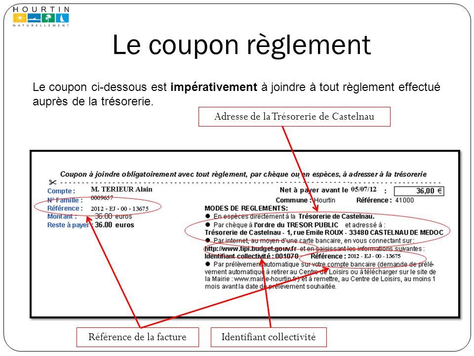 Le coupon règlement Le coupon ci-dessous est impérativement à joindre à tout règlement effectué auprès de la trésorerie.