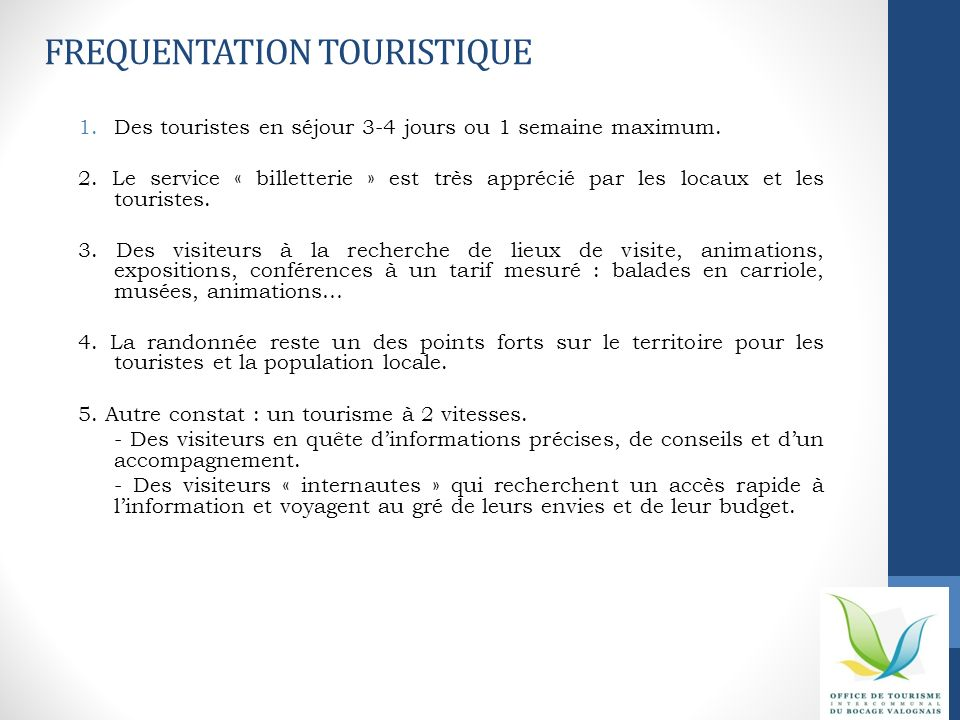 FREQUENTATION TOURISTIQUE