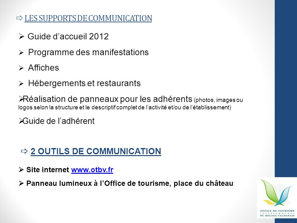  LES SUPPORTS DE COMMUNICATION