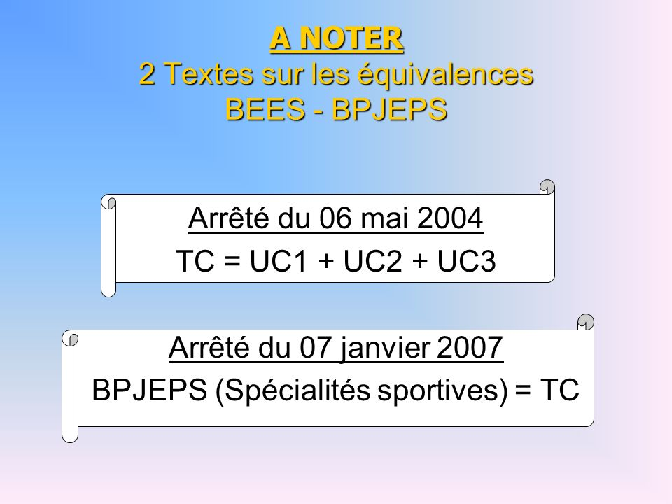 A NOTER 2 Textes sur les équivalences BEES - BPJEPS