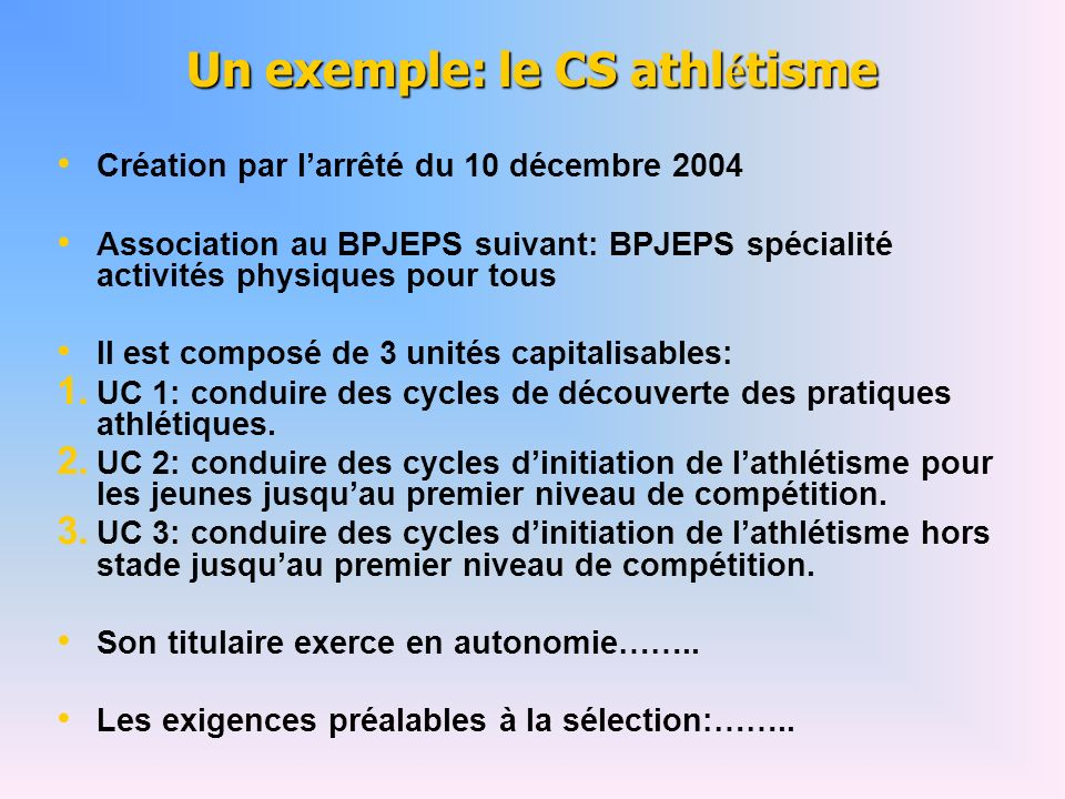 Un exemple: le CS athlétisme
