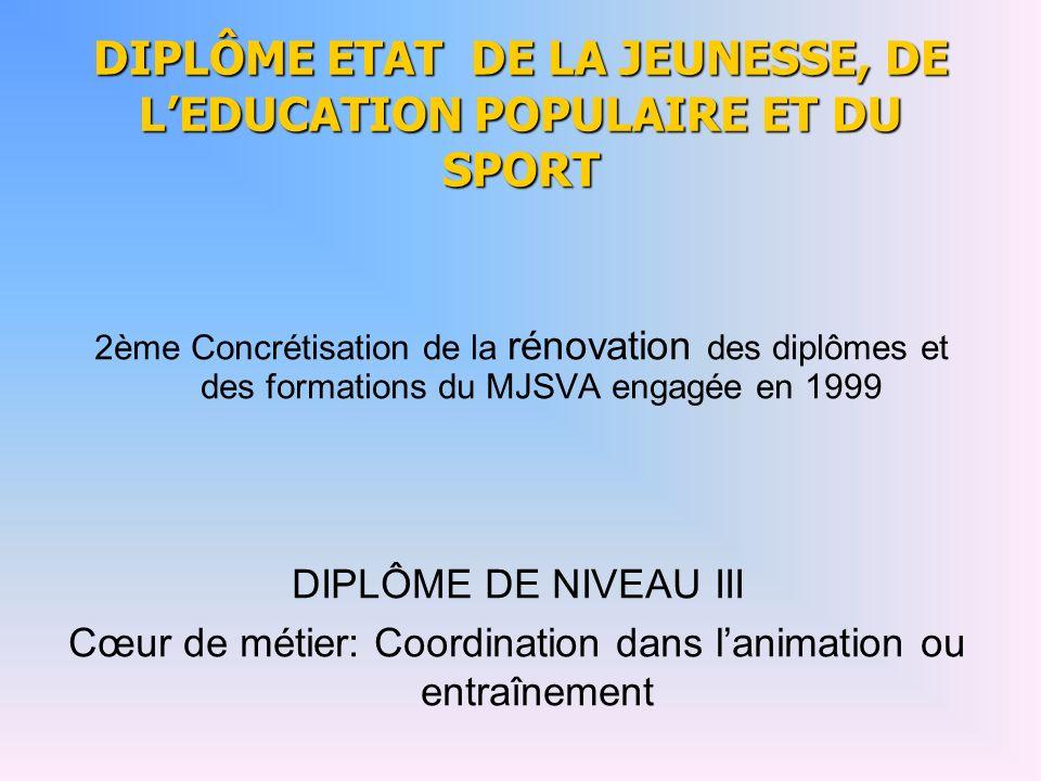 DIPLÔME ETAT DE LA JEUNESSE, DE L'EDUCATION POPULAIRE ET DU SPORT