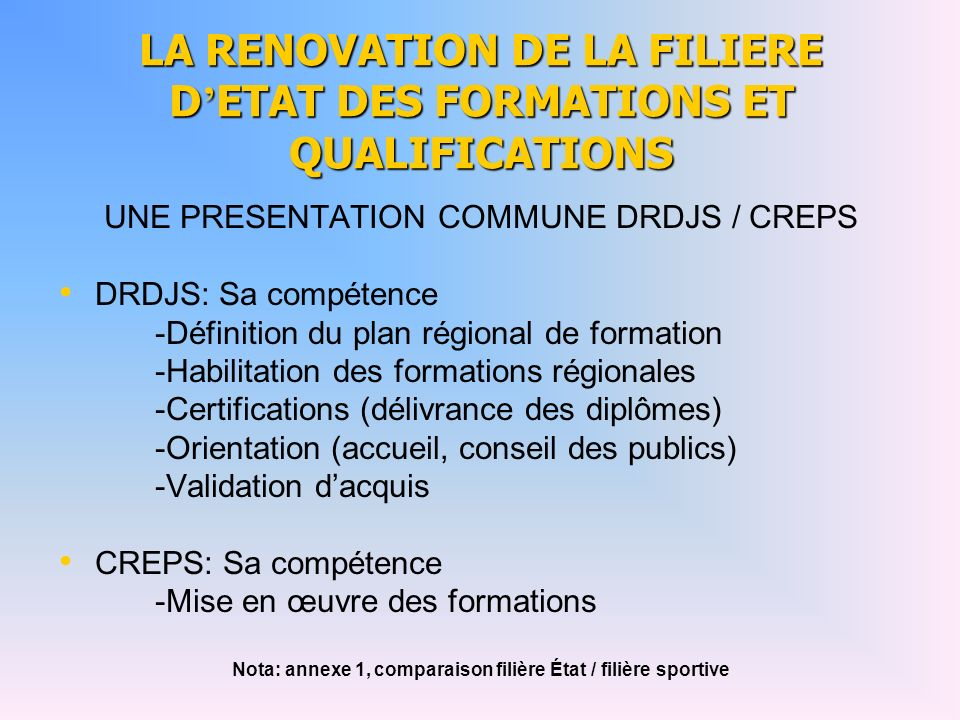 LA RENOVATION DE LA FILIERE D'ETAT DES FORMATIONS ET QUALIFICATIONS