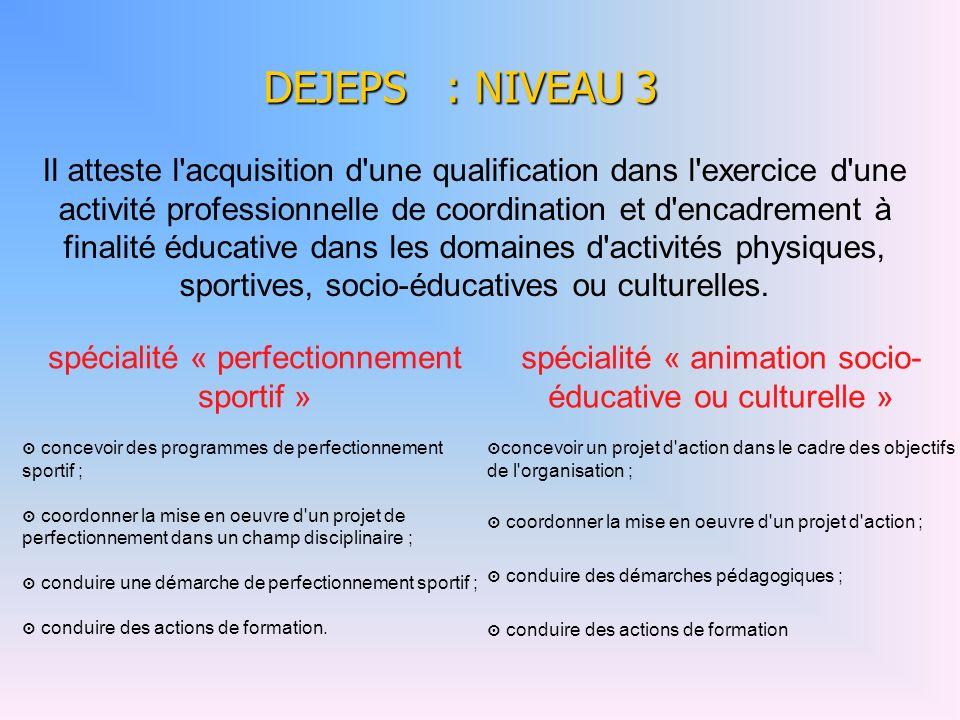 DEJEPS : NIVEAU 3