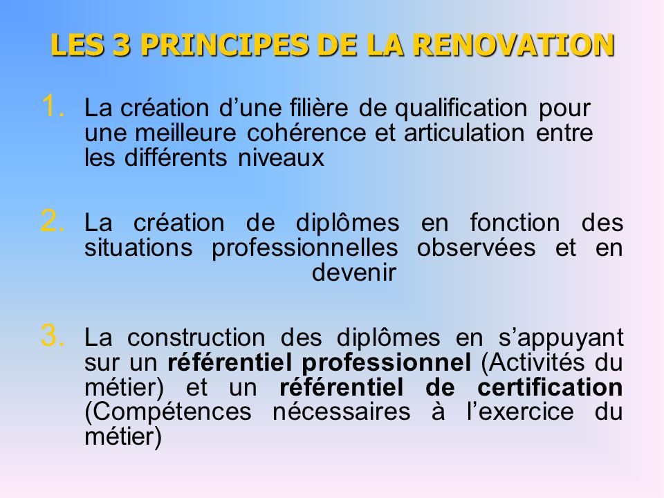 LES 3 PRINCIPES DE LA RENOVATION