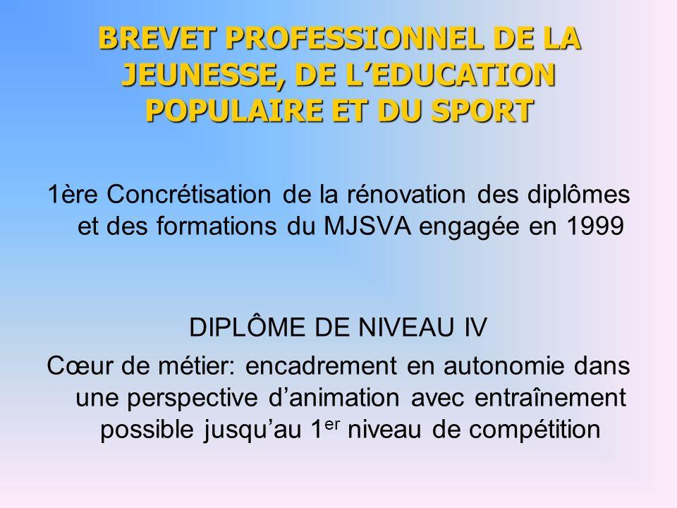 BREVET PROFESSIONNEL DE LA JEUNESSE, DE L'EDUCATION POPULAIRE ET DU SPORT