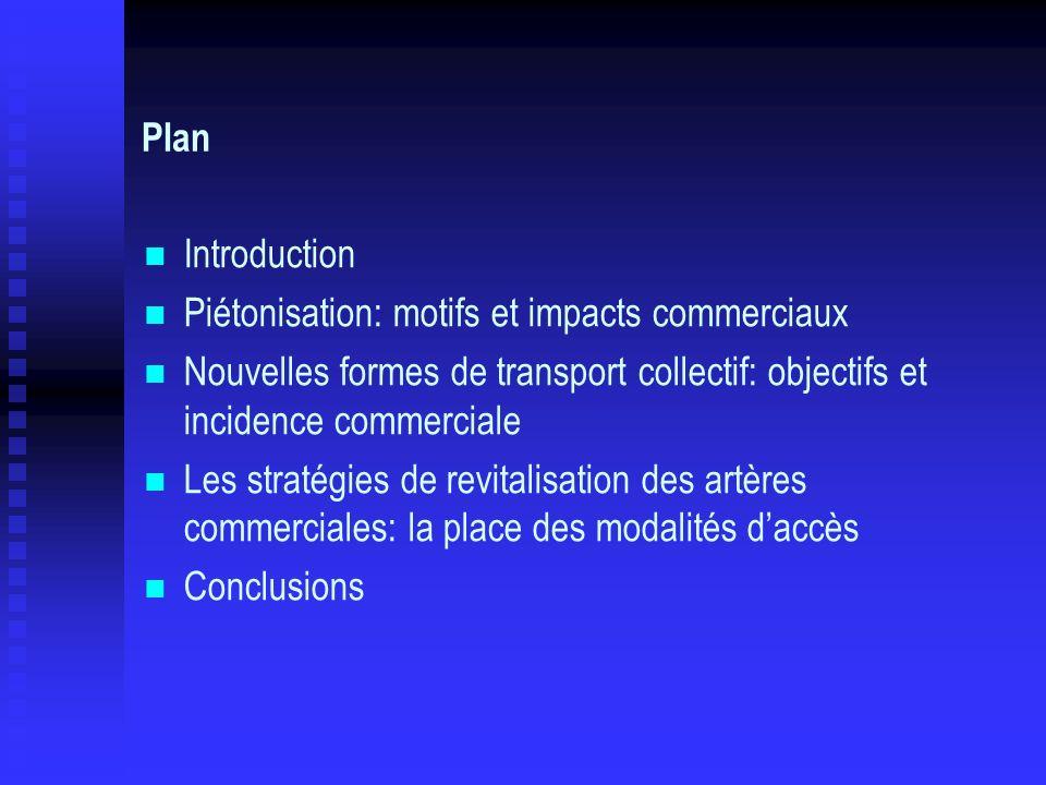 Plan Introduction. Piétonisation: motifs et impacts commerciaux. Nouvelles formes de transport collectif: objectifs et incidence commerciale.