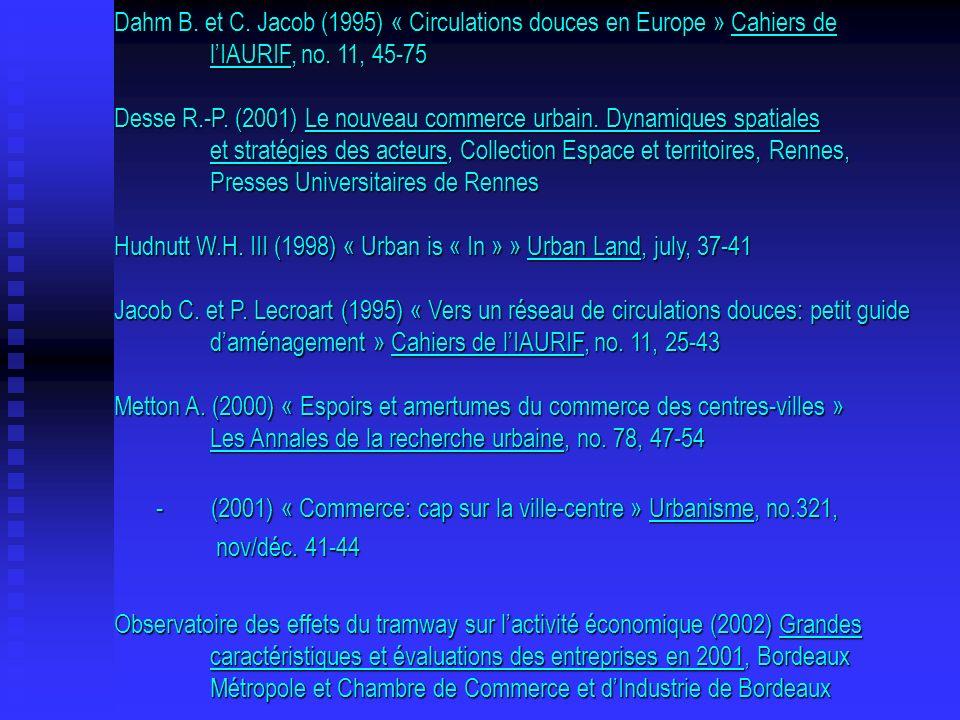 Dahm B. et C. Jacob (1995) « Circulations douces en Europe » Cahiers de