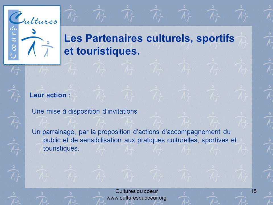 Les Partenaires culturels, sportifs et touristiques.