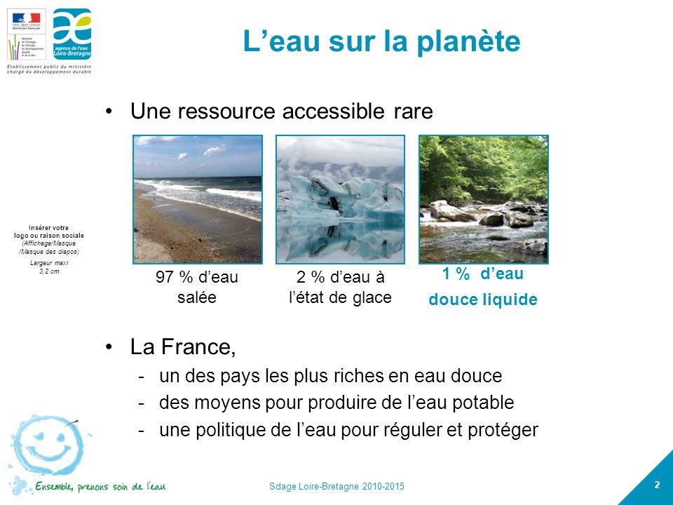 L'eau sur la planète Une ressource accessible rare La France,
