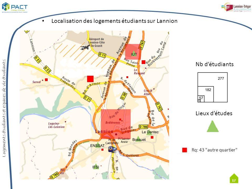 Localisation des logements étudiants sur Lannion