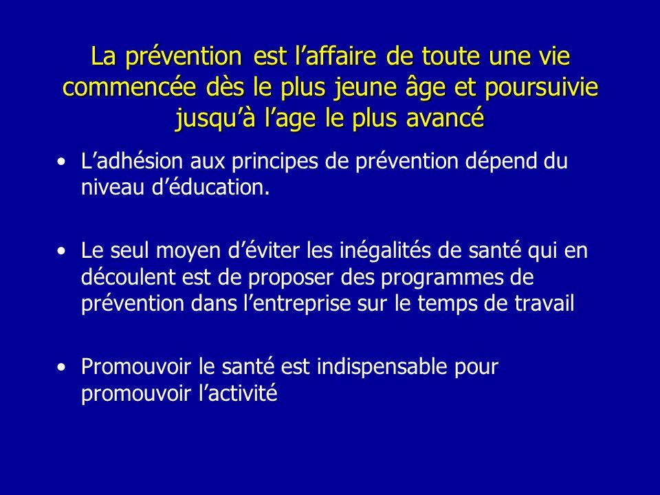 La prévention est l'affaire de toute une vie commencée dès le plus jeune âge et poursuivie jusqu'à l'age le plus avancé