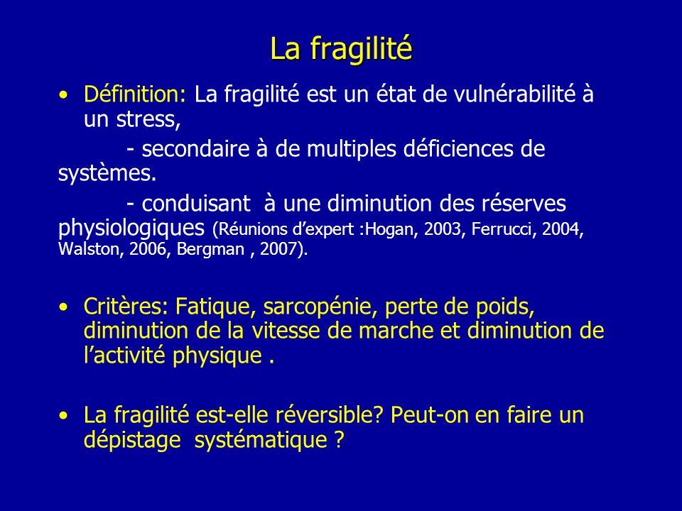 La fragilité Définition: La fragilité est un état de vulnérabilité à un stress, - secondaire à de multiples déficiences de systèmes.