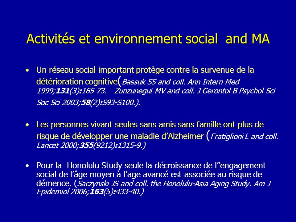 Activités et environnement social and MA