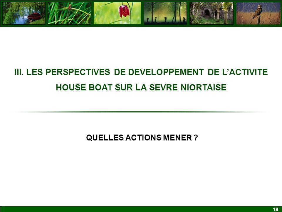 III. LES PERSPECTIVES DE DEVELOPPEMENT DE L'ACTIVITE HOUSE BOAT SUR LA SEVRE NIORTAISE