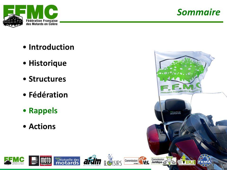 Sommaire • Introduction • Historique • Structures • Fédération • Rappels • Actions