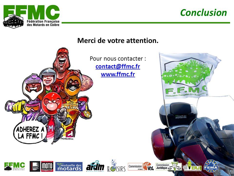 Conclusion Merci de votre attention. Pour nous contacter : contact@ffmc.fr www.ffmc.fr