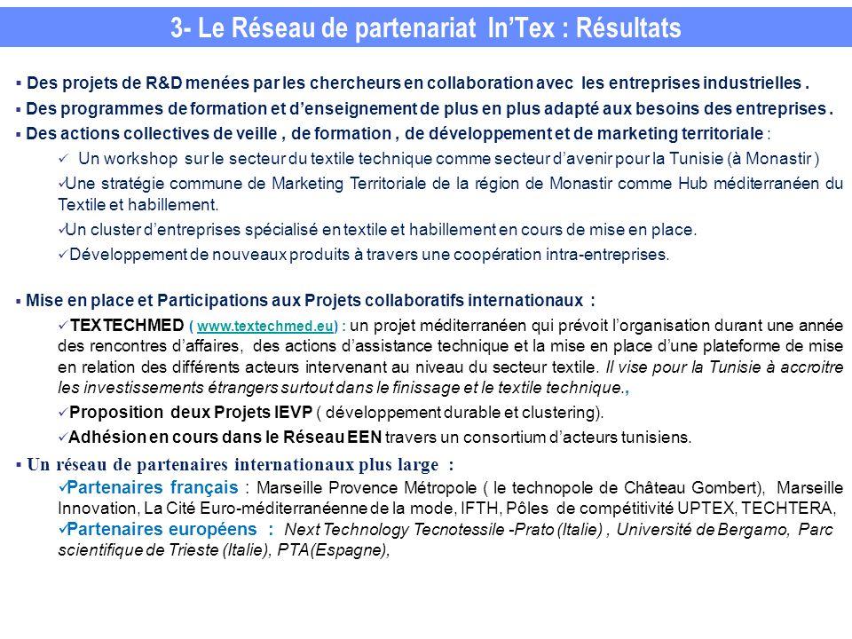 3- Le Réseau de partenariat In'Tex : Résultats