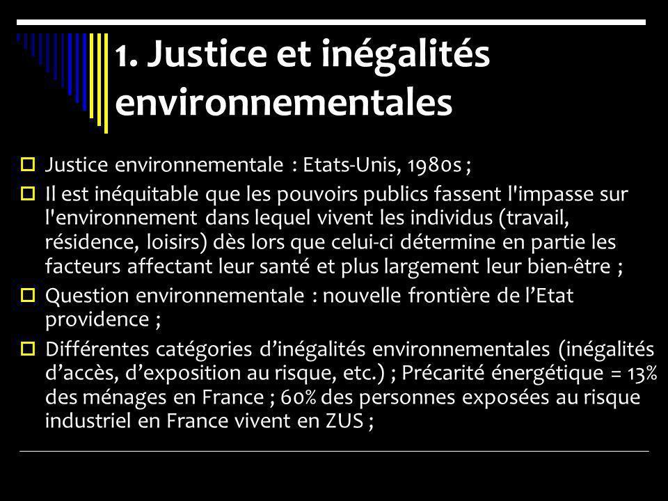 1. Justice et inégalités environnementales