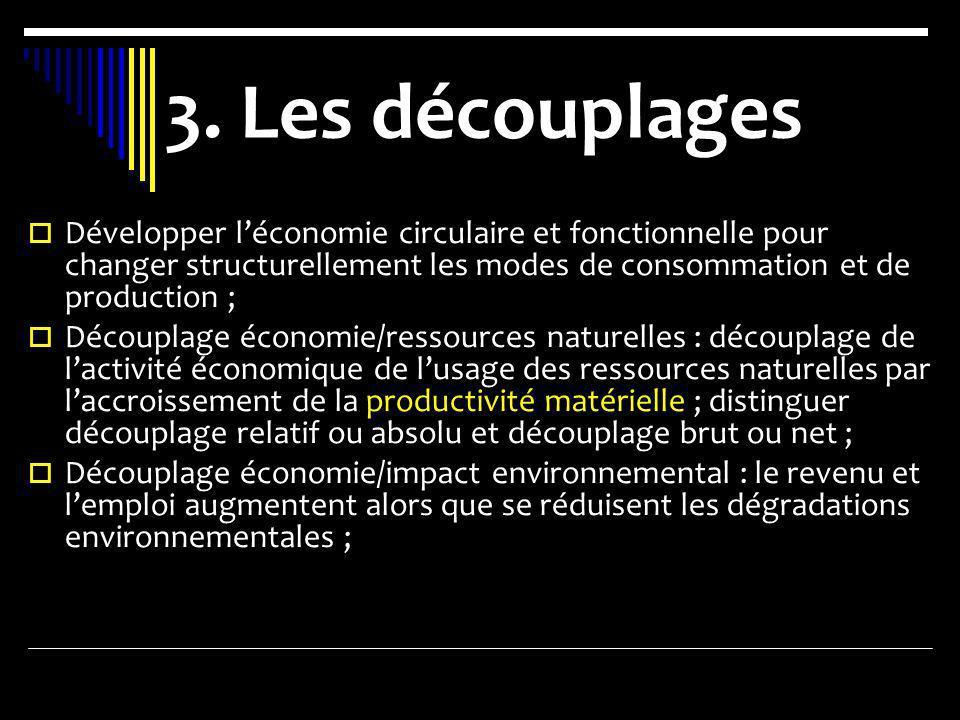 3. Les découplages Développer l'économie circulaire et fonctionnelle pour changer structurellement les modes de consommation et de production ;
