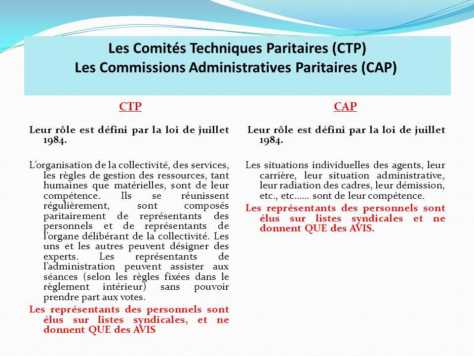 Les Comités Techniques Paritaires (CTP) Les Commissions Administratives Paritaires (CAP)