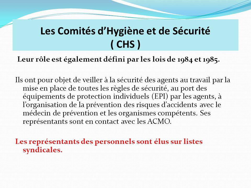 Les Comités d'Hygiène et de Sécurité ( CHS )