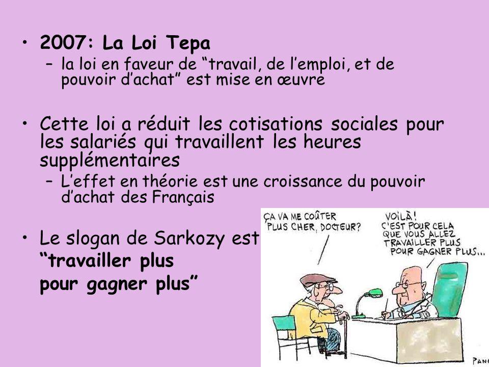 Le slogan de Sarkozy est travailler plus pour gagner plus