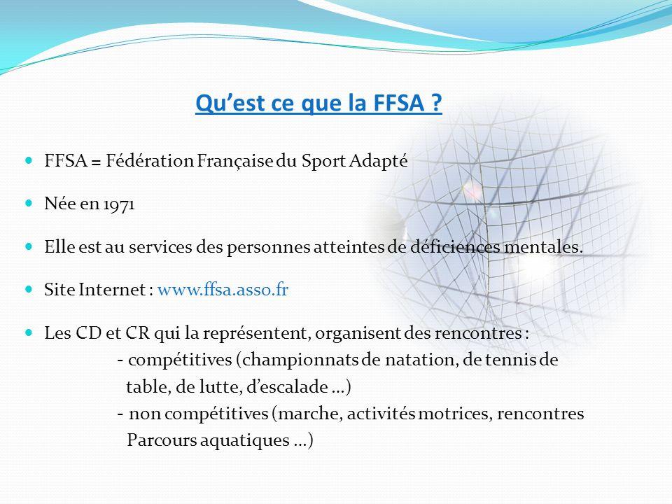 Qu'est ce que la FFSA FFSA = Fédération Française du Sport Adapté