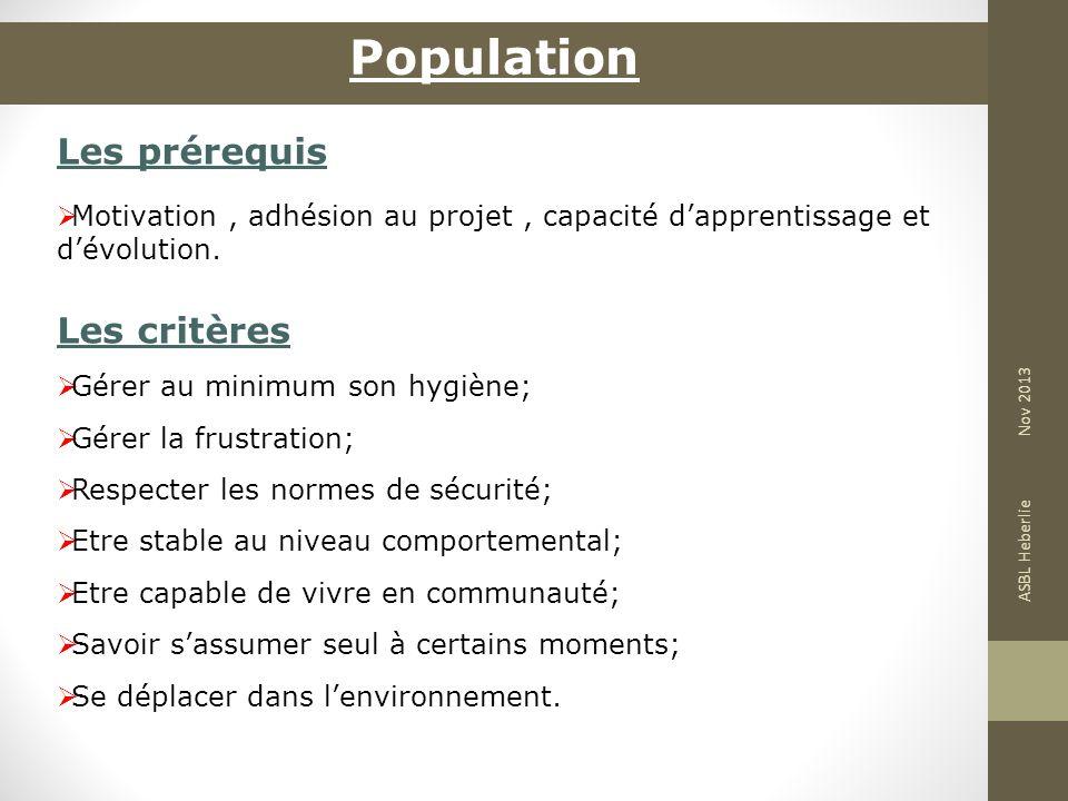 Population Les prérequis Les critères