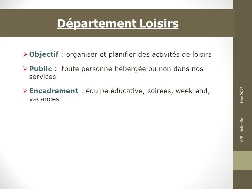 Département Loisirs Objectif : organiser et planifier des activités de loisirs. Public : toute personne hébergée ou non dans nos services.