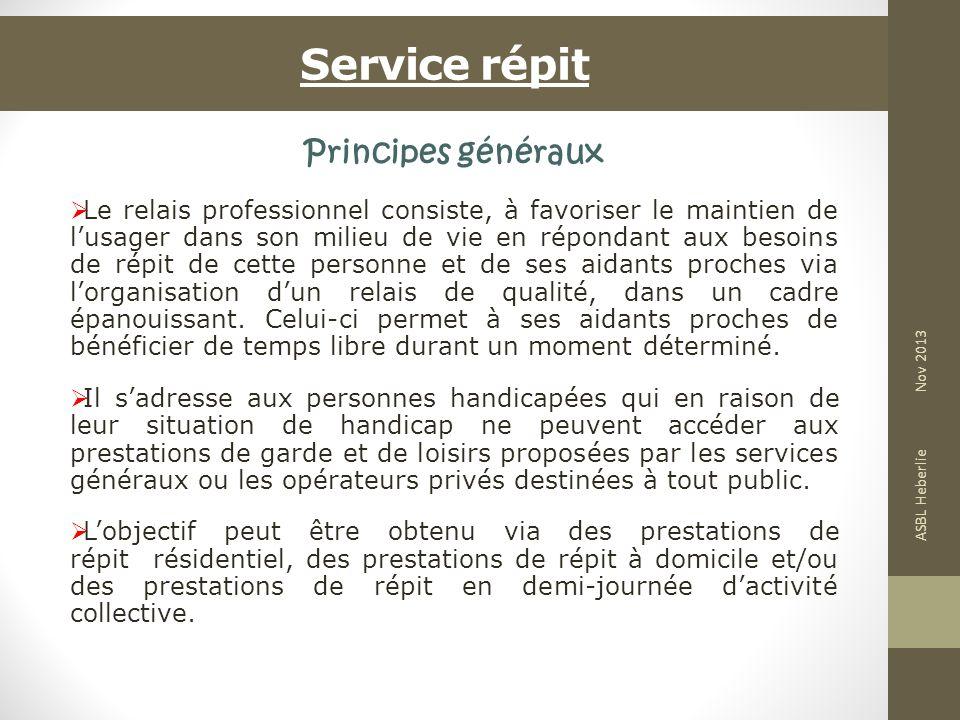 Service répit Principes généraux