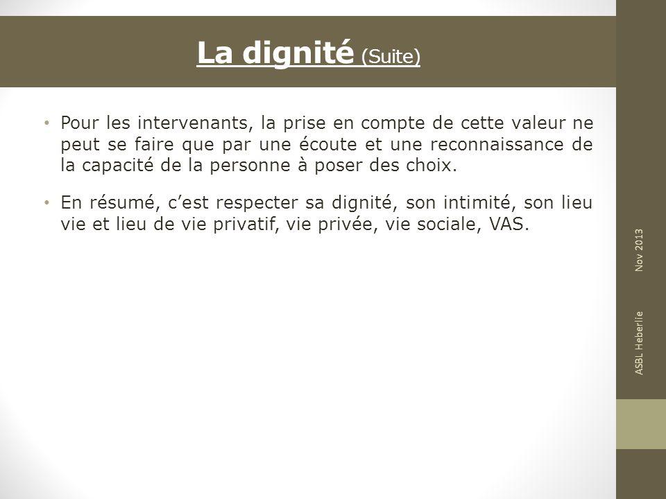 La dignité (Suite)