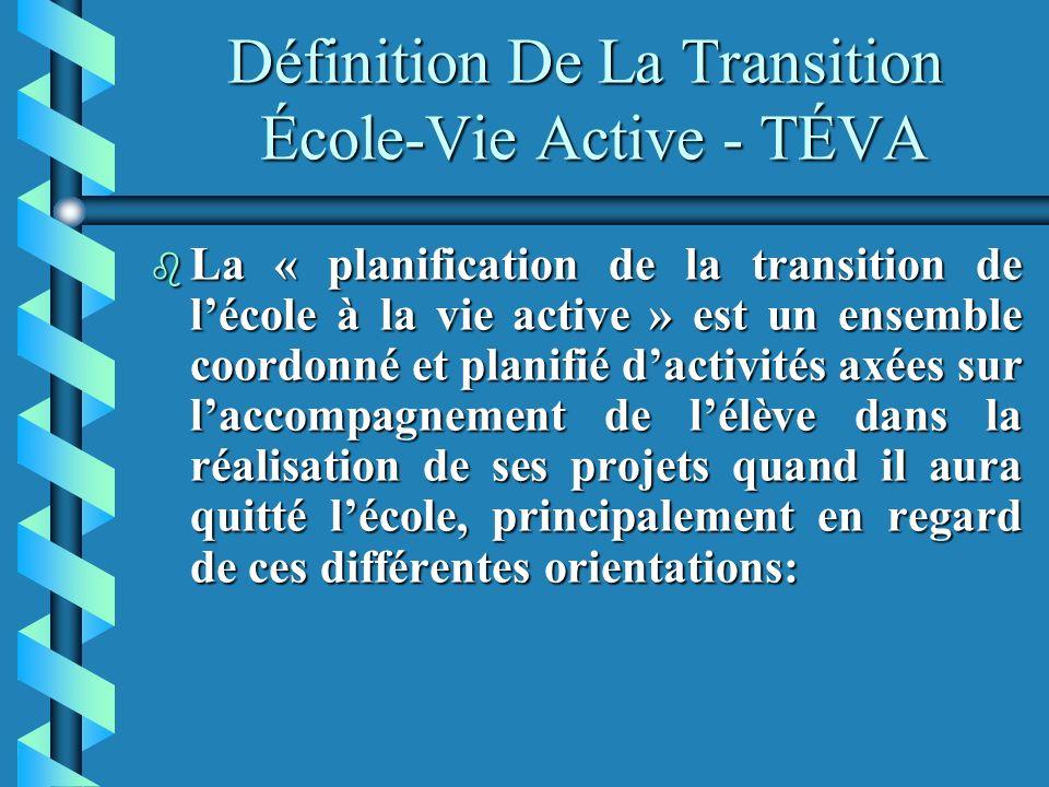 Définition De La Transition École-Vie Active - TÉVA