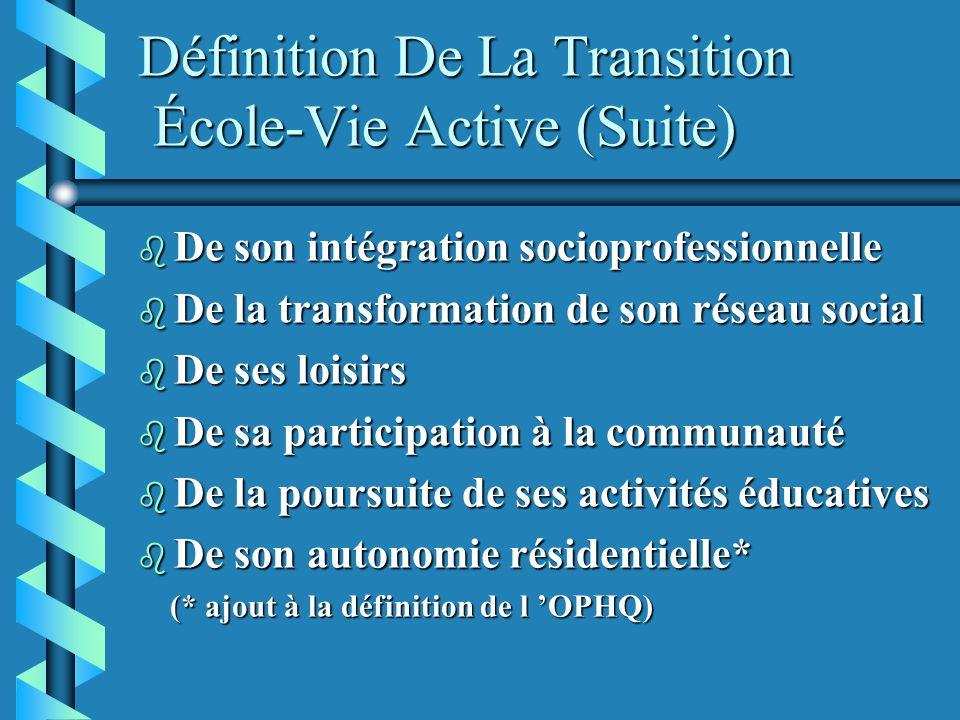 Définition De La Transition École-Vie Active (Suite)