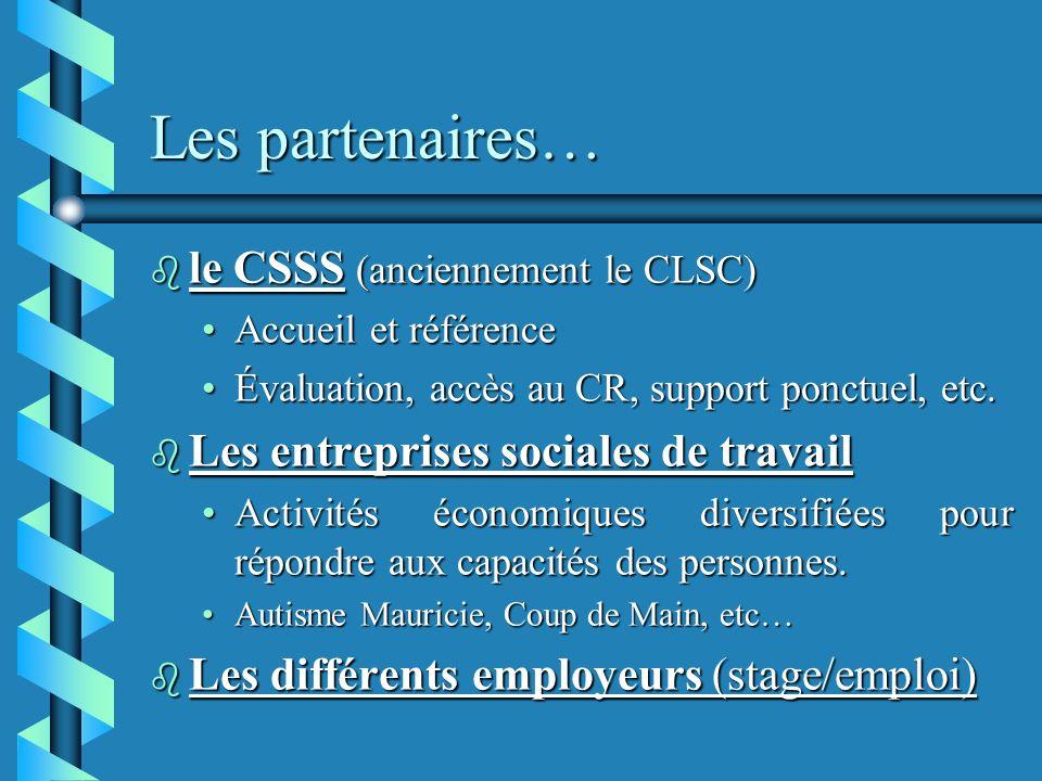 Les partenaires… le CSSS (anciennement le CLSC)