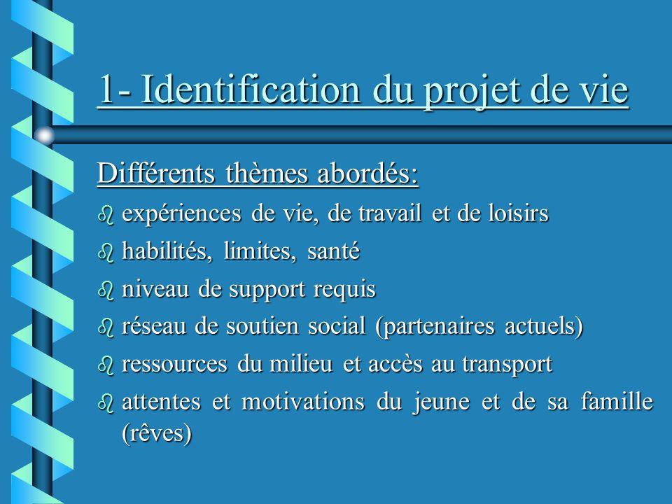 1- Identification du projet de vie
