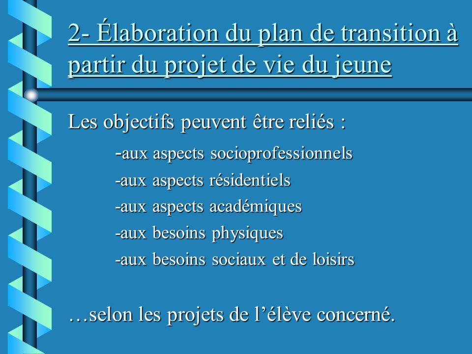 2- Élaboration du plan de transition à partir du projet de vie du jeune