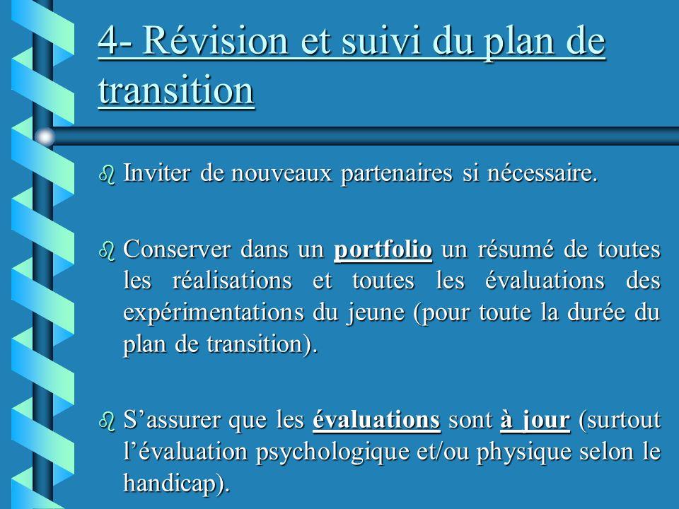 4- Révision et suivi du plan de transition