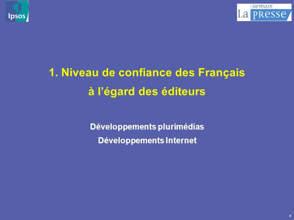 1. Niveau de confiance des Français à l'égard des éditeurs