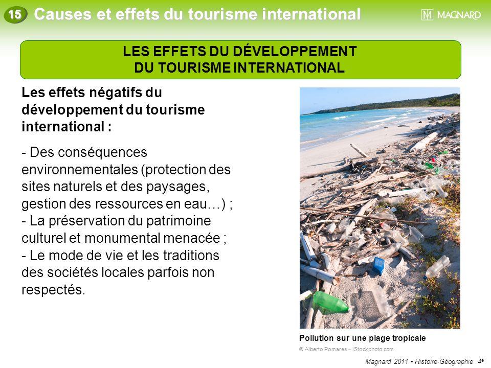 LES EFFETS DU DÉVELOPPEMENT DU TOURISME INTERNATIONAL